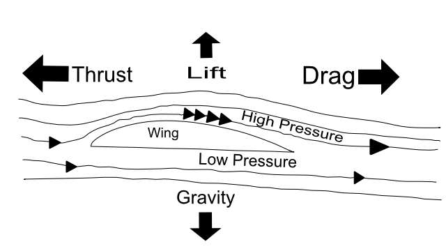four forces of flight wing aerofoil pressure